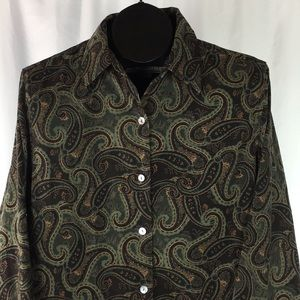 Vintage Soft Paisley Button-Up w/ Abalone Buttons
